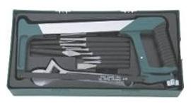 Набор инструмента - ножовка, разв. ключ, зубила и выколотки в ложементе, 14 предметов  (M645114ST)