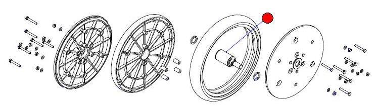 """Ось с подшипником V-образных прикатыв. колес 2"""" (Матермак)"""