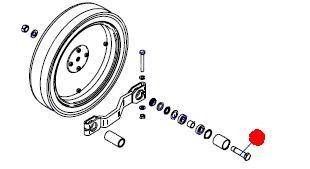 Ось (болт) колеса контроля глубины - левый (Сеялки Матермак)