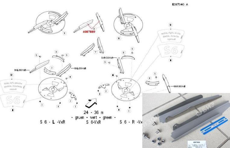 Комплект лопаток S6 L/R 360мм (2шт.) (Axis 30.1, Раух) 24-36м