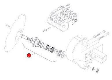 Ступица реж. диска (4отв.) в сб. с осью D30x130x105 M24x1,5 LH лев. (Гелиодор Лемкен)