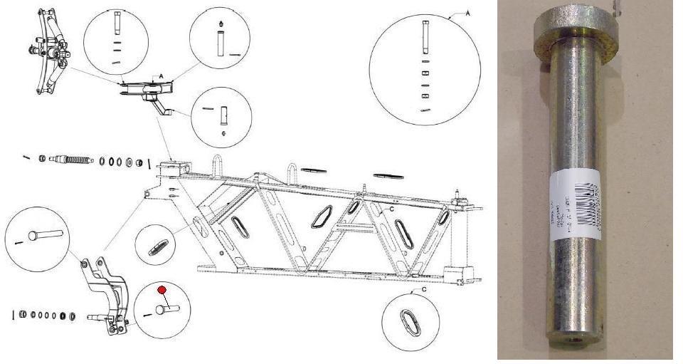 Палец Ф29,8х192 крепления 1-й секции штанги нижний (Император 3100/3100E Стара)