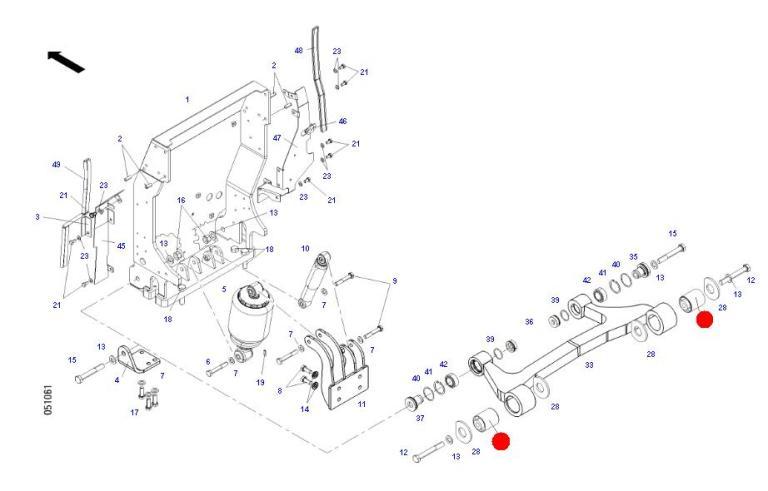 Сайлентблок передн. подвески кабины (Fendt 933, 936S4)