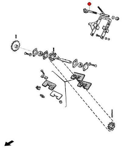 Палец рычага натяж. цепи транспорт. колос. элеватора (CH647C Челленжер)